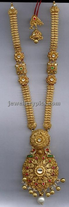 Antique haram -long chain designs (part 2/3) - Latest Jewellery Designs