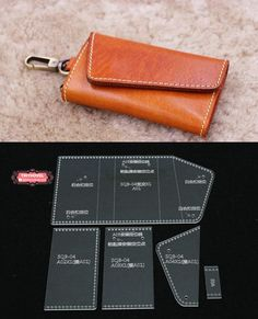 Leather Key Case / KeyChain /Key Pouch / Card Holder Acrylic Template - 1 size for choose, Leathercraft Pattern Leather Wallet Pattern, Sewing Leather, Leather Craft, Key Bag, Key Pouch, Leather Key Case, Leather Pouch, Leather Tutorial, Handbag Patterns