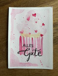 Alles Gute! #geburtstag #birthday #karte #aquarell #malen #diy #cards #wasserfarben #cupcakes #rosa #sweet Lettering, Watercolour Painting, Birthday Cards, Coloring, Diy, Inspiration, Cards, Invitation Birthday, Wrapping Gifts