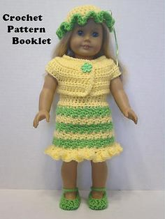 Crochet Pattern #SP41 Dress Shrug Hat Shoes Fits most 18 inch dolls