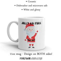 5a0c367ab4e09d Christmas Mug, Jolly As Fuck Mug, Vulgar Mug, Profane Mug, Funny Mug, Jolly  AF Mug, Gift For Her, White Elephant, Secret Santa, Novelty Mug