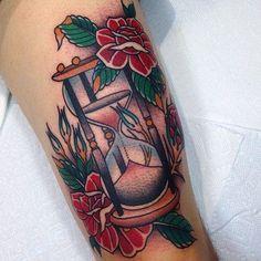 Old School style sand clock Tattoo Design