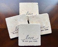 Drink Coasters Stone Drink Coasters Love Is All You Need