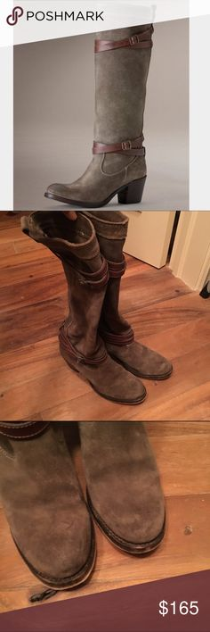 Frye Jane Strappy Slouchy Suede Boots in Grey Grey suede with brown straps. Slouchy fit. Brown leather strap detail on top and at ankle. These have some light scuffs on the toes, but in my opinion they give them charachter. Overall excellent condition. NO ORIGINAL BOX,  but I will obviously ship them in a box and protected! Frye Shoes Heeled Boots