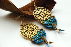 Ohrhänger - Makramee-Ohrringe *Mandala* - ein Designerstück von Knotenkind bei DaWanda