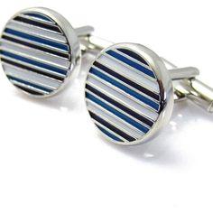 Blue Black and White Royal Stripe Round Cufflinks