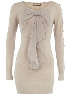 add a sheer bow like this one to any old sweater to make it new again. Maybe bottons on the side.