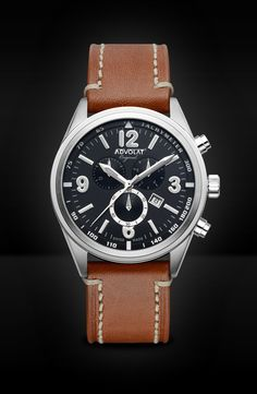 ADVOLAT VOYAGE Swiss Made Chronograph, Tachymeter, Stainless Steel Casing, Face black/grey, Bracelet saddle leather, Ref. 88006/2-SL5 Saddle Leather, Grey Leather, Limited Edition Watches, Watches Online, Stainless Steel Case, Chronograph, Omega Watch, Rolex Watches, Black And Grey