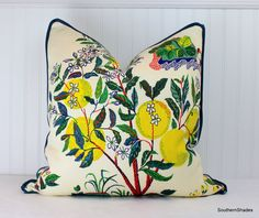 One or Both Sides - ONE High End Schumacher Citrus Garden Primary/Pool Pillow Cover with Self Cordin