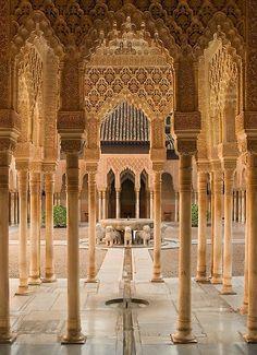 Plaza de Leones Alhambra Palace, Granada, Spain