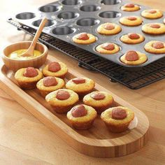 """Fun snack idea: Corn Dogs with """"flair"""" - Mix up an 8.5oz box of corn muffin mix, divide batter into the Mini-Muffin Pan, and add hot dog slices. Bake for 10-12 minutes at 375°."""