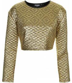 Topshop UK - Quilted Metallic Gold Crop Top  #streetstyle