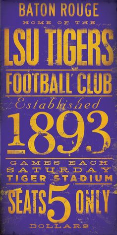 LSU Tigers football typography graphic art on gallery wrap