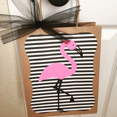 One large pink flamingo party favor loot bags by pinktreepapers