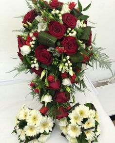 Lush red roses and white bouvardia shower bouquet