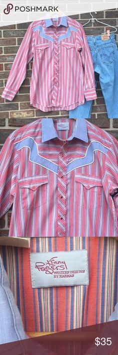 """Vintage 70's Kenny Rogers western shirt Still in great condition! Light blue & faded red striped. Thin cotton material. Very comfy.  Snap front & at wrists. Fits large or loose medium. Armpits measure 21.5"""" across, lying flat. Shirt is 30.5"""" long.  Vintage 70's Kenny Rogers western collection by Karman. Vintage Tops Button Down Shirts"""