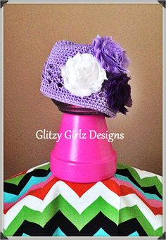 Adorable fall/winter lavender crochet beanie by GlitzyGirlzDesigns, $10.00