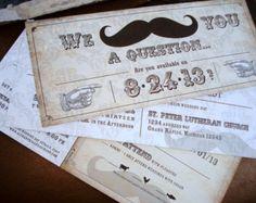 I MUSTACHE You... Vintage Damask Wedding Invitation Set - Sample