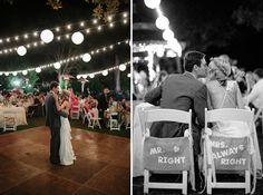 Hahaha I love the signs, instead of Bride and Groom they're Mr. Right and Mrs. Always Right! Cheeky :)