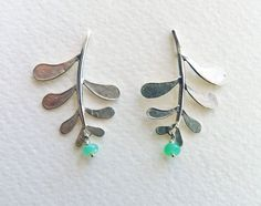 Blossoming branch, Marni leaf earrings with stud fitting and chrysoprase drops