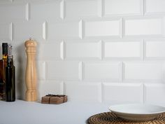 A popular matt white brick-shaped biselado bevelled edge tile. These timeless ceramic matt white metro tiles are ideal for bathroom or kitchen walls, order white metro tile samples online with free delivery. White Wall Tiles, Wall And Floor Tiles, Wall Tile Adhesive, Glass Brick, Metro Tiles, Splashback, Bathroom Wall, Interior Decorating, Kitchen Walls