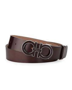 e885e3549f Salvatore Ferragamo Enamel Double-Gancini-Buckle Belt Designer Belts