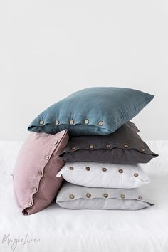 7c238632eb6 Elevate your bedding set with soft and comfy linen pillowcases with  buttons. Available in more