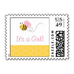 Pink Bumble Bee Postage Stamps