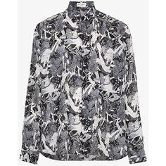Saint Laurent Silk Antique Greek Shirt (1,190 CAD) ❤ liked on Polyvore featuring men's fashion, men's clothing, men's shirts, black, mens silk shirts and yves saint laurent mens shirt