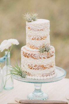 Check out this boho beach wedding inspiration, including this gorgeous wedding cake!