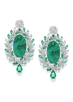 Piaget Rose Passion earrings in white gold set with diamonds and tourmalines
