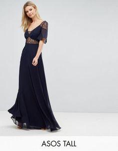 ASOS Tall Lace Insert Flutter Sleeve Maxi Dress