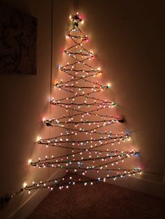 My wall Christmas tree! - Alfy My wall Christmas tree! My wall Christmas tree! Wall Christmas Tree, Creative Christmas Trees, Noel Christmas, Xmas Tree, Simple Christmas, Winter Christmas, Christmas Lights, Modern Christmas, Beautiful Christmas