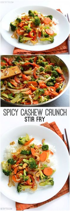 This simple Spicy Cashew Crunch Stir Fry has an extra spicy sauce, crunchy cashews, and lightly stir fried vegetables. Delicious dinner made fast!@budgetbytes