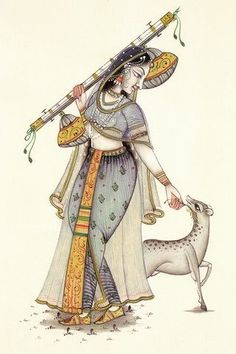 Mughal Paintings, Indian Art Paintings, Indiana, Mermaid Sketch, Rajasthani Painting, Indian Folk Art, Krishna Painting, Postcard Art, Traditional Paintings