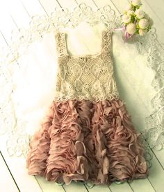 Crochet Rose Dress for a little girl. This would be a beautiful flower girl dress!