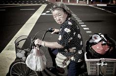 Biker Auntie in Joo Chiat, Singapore