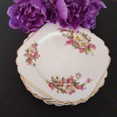 Lilac, Pink, Side Plates, Pattern Names, Vintage China, Plate Sets, Bone China, White Flowers, England