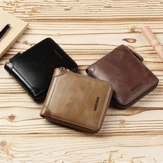 X-xyA Men Coin Purse Genuine Leather Bifold Wallet Zipper Change Purse Coin Pouch Card Holder Purse,Coffee