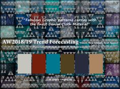 AW2018/2019 Trend Forecasting for Women, Men, Intimate, Sport Apparel - Fabulous Graphic patterns carries with the finest Denim Cloth Material. www.JudithNg.com