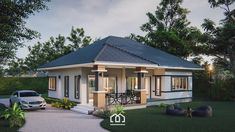 10 Contemporary House Designs With Floor Plan Perfect for Modern Family Small Cottage Designs, Small House Design, Modern House Design, Bungalow House Design, Modern Bungalow, Modern House Plans, Small House Plans, Adele, Beautiful Small Homes