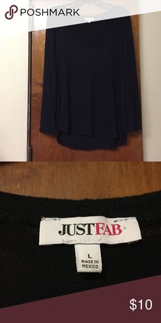 Black Just Fab Sweater VERY soft Just Fab sweater. It's a very light, soft material. The size is a large but it runs a little small and be better as a medium. Only worn a few times and price is negotiable! Just Fab Sweaters Crew & Scoop Necks