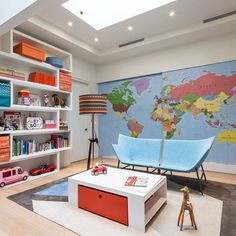 West Village Townhouse Interior Design, Architecture and Renovation in New York City for an art collector and hedge fund manager. Indoor Playroom, Modern Playroom, Playroom Design, Kids Room Design, Attic Design, Nursery Design, Design Hotel, House Design, Townhouse Interior