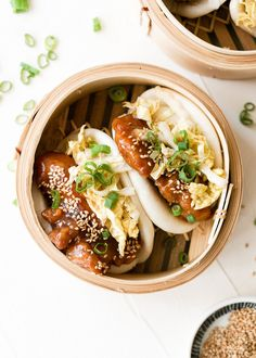 Sesame Chicken Steamed Buns recipe by Kristina Cho Gua Bao, Steamed Bao Buns, Steamed Dumplings, Steam Buns Recipe, Bun Recipe, Sesame Chicken, Crispy Chicken, Garlic Chicken, Salmon Recipes