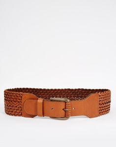 Pieces Leather Woven Waist Belt