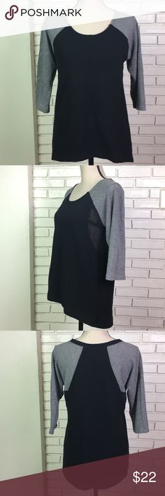 """Black Quilted Mesh Tunic Top Willi Smith, 3/4 Sleeve, Solid Black & Gray, Mesh Detail Under Arms, Hi Lo Hem, Size: Small. Armpit to Armpit: 18"""". Length: 23"""" - 26.5"""". Willi Smith Tops Blouses"""