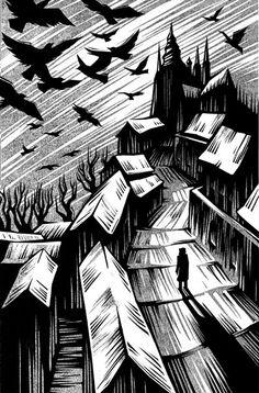 The Golem - Linocut illustration by Vladimir Zimakov Linocut Prints, Art Prints, Block Prints, Illustrations, Illustration Art, The Golem, Art Graphique, Wood Engraving, Art Plastique