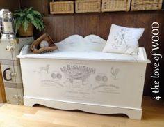 4 the love of wood: GRAPHIC TRANSFER STORAGE BENCH - dog biscuit ephemera bench