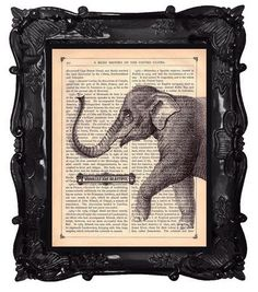 Printing on Book Pages - looks really great with ornate black frame - Don't have one spray-paint a thrift store find.