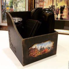 """Купить Короб """"Старый город"""" - черный, прихожая, Декупаж, Декор, декор дома, для прихожей, подарок"""